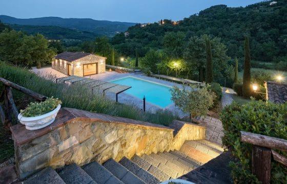 Lækker villa med aircondition, pool og panoramisk udsigt ved Arezzo
